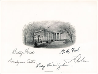 PRESIDENT JAMES E. JIMMY CARTER - WHITE HOUSE ENGRAVING SIGNED CO-SIGNED BY: FIRST LADY BETTY FORD, FIRST LADY LADY BIRD JOHNSON, FIRST LADY ROSALYNN CARTER, PRESIDENT GERALD R. FORD