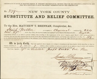 WILLIAM M. BOSS TWEED - DOCUMENT SIGNED 09/19/1863 CO-SIGNED BY: MATTHEW T. BRENNAN