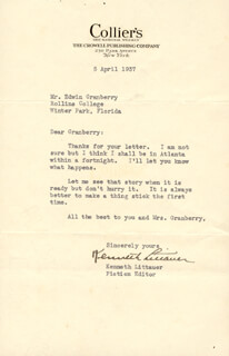 KENNETH LITTAUER - TYPED LETTER SIGNED 04/05/1937