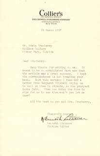 KENNETH LITTAUER - TYPED LETTER SIGNED 03/25/1937