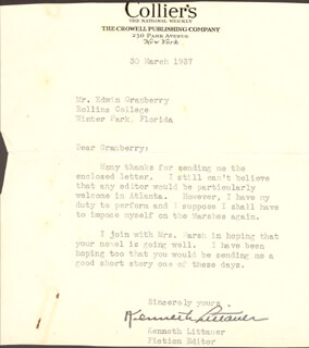 KENNETH LITTAUER - TYPED LETTER SIGNED 03/30/1937