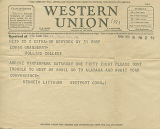 KENNETH LITTAUER - TELEGRAM UNSIGNED 12/31/1936