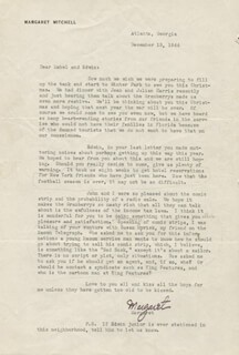 MARGARET MITCHELL - TYPED LETTER SIGNED 12/15/1944