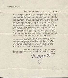 MARGARET MITCHELL - TYPED LETTER SIGNED 01/28/1946
