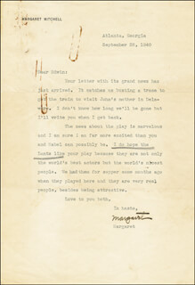 MARGARET MITCHELL - TYPED LETTER SIGNED 09/28/1940