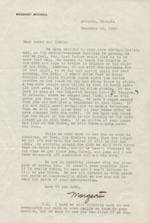 MARGARET MITCHELL - TYPED LETTER SIGNED 12/20/1940