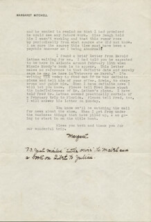 MARGARET MITCHELL - TYPED LETTER SIGNED 01/18/1941