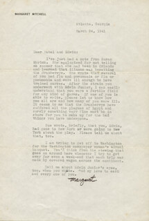 MARGARET MITCHELL - TYPED LETTER SIGNED 03/24/1941
