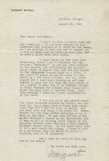 MARGARET MITCHELL - TYPED LETTER SIGNED 08/29/1941