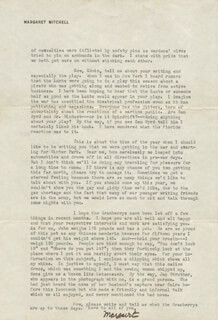 MARGARET MITCHELL - TYPED LETTER SIGNED 09/21/1942