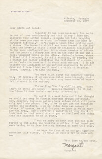 MARGARET MITCHELL - TYPED LETTER SIGNED 11/29/1937