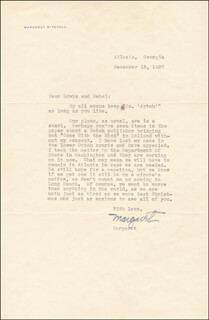 MARGARET MITCHELL - TYPED LETTER SIGNED 12/15/1937