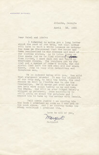 MARGARET MITCHELL - TYPED LETTER SIGNED 04/12/1938