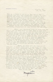 MARGARET MITCHELL - TYPED LETTER SIGNED 10/29/1936