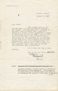 MARGARET MITCHELL - TYPED LETTER SIGNED 01/04/1937