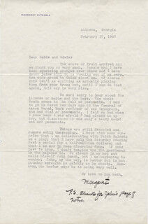 MARGARET MITCHELL - TYPED LETTER SIGNED 02/17/1937