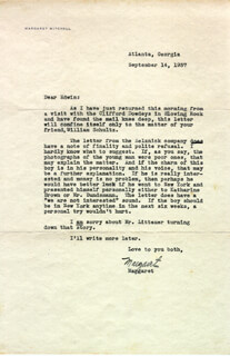 MARGARET MITCHELL - TYPED LETTER SIGNED 09/14/1937