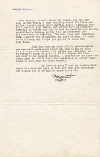 MARGARET MITCHELL - TYPED LETTER SIGNED 08/08/1937