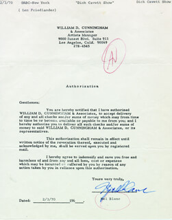 MEL BLANC - DOCUMENT SIGNED 02/03/1970