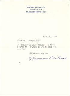 NORMAN ROCKWELL - TYPED LETTER SIGNED 02/01/1977