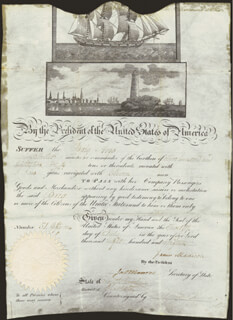 PRESIDENT JAMES MADISON - WHALING SHIPS PAPERS SIGNED 07/12/1815 CO-SIGNED BY: PRESIDENT JAMES MONROE
