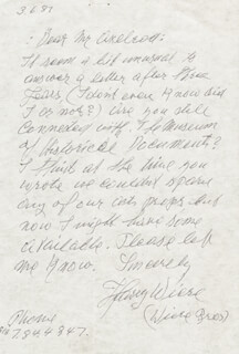 HARRY WIERE - AUTOGRAPH LETTER SIGNED 03/06/1987