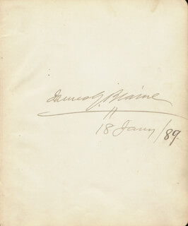 Autographs: JAMES G. BLAINE - SIGNATURE(S) 01/18/1889