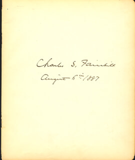 Autographs: CHARLES S. FAIRCHILD - SIGNATURE(S) 08/06/1887