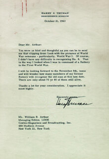 PRESIDENT HARRY S TRUMAN - TYPED LETTER SIGNED 10/21/1963