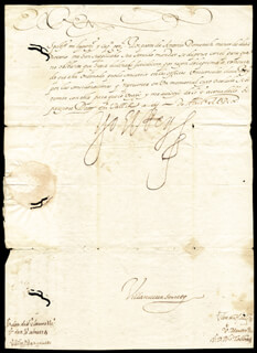 KING PHILIP III (SPAIN) - MANUSCRIPT LETTER SIGNED 04/03/1610 CO-SIGNED BY: JOSE SABATERA, VILLANUEVA, MONTER, FELIPE TALLADO