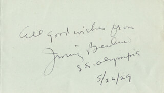 Autographs: IRVING BERLIN - AUTOGRAPH SENTIMENT SIGNED 05/22/1929