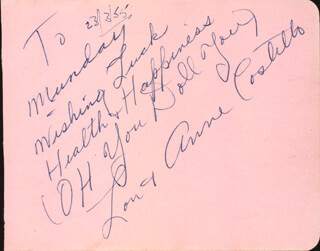 ANNE (MRS. LOU) COSTELLO - INSCRIBED SIGNATURE 03/23/1955