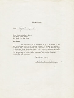 DORIS DAY - DOCUMENT SIGNED 04/15/1953
