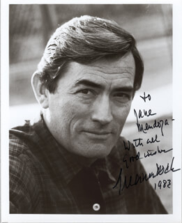 GREGORY PECK - AUTOGRAPHED INSCRIBED PHOTOGRAPH 1983