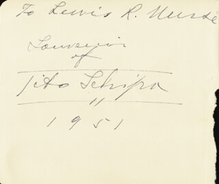 TITO SCHIPA - INSCRIBED SIGNATURE 1951