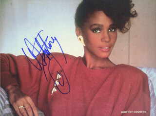 WHITNEY HOUSTON - MAGAZINE PHOTOGRAPH SIGNED