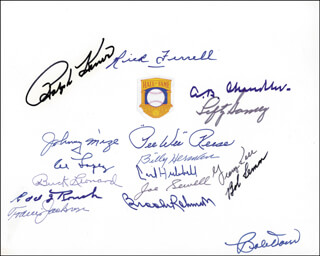 HALL OF FAME BASEBALL - AUTOGRAPH CO-SIGNED BY: RICK FERRELL, GEORGE KELL, ALBERT B. HAPPY CHANDLER, LEFTY GOMEZ, JOHNNY MIZE, EDD J. ROUSH, BOB LEMON, BOBBY DOERR, BILLY HERMAN, BROOKS ROBINSON, RALPH KINER, PEE WEE REESE, TRAVIS JACKSON, BUCK LEONARD, CARL HUBBELL, AL LOPEZ, JOE SEWELL