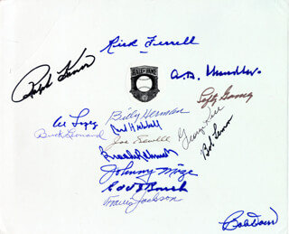 HALL OF FAME BASEBALL - AUTOGRAPH CO-SIGNED BY: RICK FERRELL, GEORGE KELL, ALBERT B. HAPPY CHANDLER, LEFTY GOMEZ, JOHNNY MIZE, EDD J. ROUSH, BOB LEMON, BOBBY DOERR, BILLY HERMAN, BROOKS ROBINSON, RALPH KINER, TRAVIS JACKSON, BUCK LEONARD, CARL HUBBELL, AL LOPEZ, JOE SEWELL