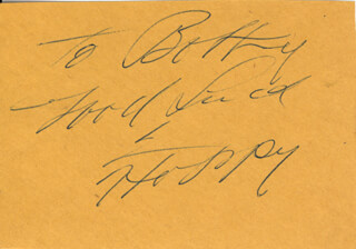 Autographs: WILLIAM HOPPY BOYD - AUTOGRAPH NOTE SIGNED IN CHARACTER