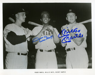 MICKEY MANTLE - AUTOGRAPHED SIGNED PHOTOGRAPH CO-SIGNED BY: WILLIE SAY HEY KID MAYS