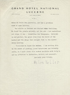 HELEN KELLER - TYPED LETTER SIGNED 05/23/1957