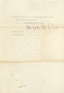 HELEN KELLER - TYPED LETTER SIGNED 05/03/1949