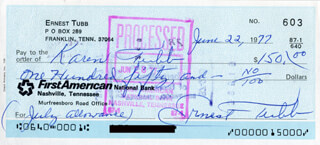 ERNEST TUBB - AUTOGRAPHED SIGNED CHECK 06/22/1977 CO-SIGNED BY: KAREN TUBB