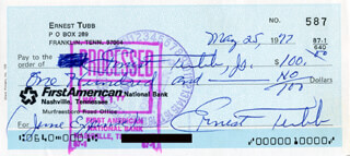 ERNEST TUBB - AUTOGRAPHED SIGNED CHECK 05/25/1977 CO-SIGNED BY: ERNEST TUBB JR.