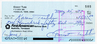 ERNEST TUBB - AUTOGRAPHED SIGNED CHECK 05/25/1977 CO-SIGNED BY: KAREN TUBB