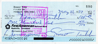 ERNEST TUBB - AUTOGRAPHED SIGNED CHECK 05/31/1977 CO-SIGNED BY: DEAN TUBB