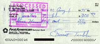 ERNEST TUBB - AUTOGRAPHED SIGNED CHECK 08/01/1975 CO-SIGNED BY: JUSTIN TUBB