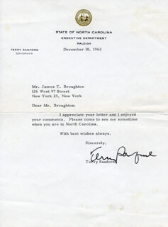TERRY SANFORD - TYPED LETTER SIGNED 12/18/1962