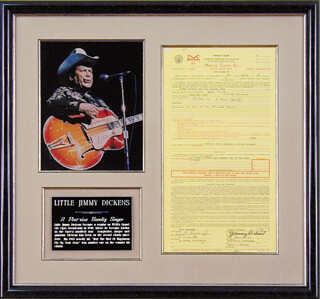 JIMMY LITTLE JIMMY DICKENS - CONTRACT SIGNED 03/01/1967 CO-SIGNED BY: CURT SAPAUGH