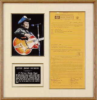 JIMMY LITTLE JIMMY DICKENS - CONTRACT SIGNED 09/20/1968